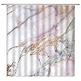 AMHNF Marmor Duschvorhang Rosa Weiß Marmor Grau Abstrakt Rissige Streifen Stein Licht Granit 3D Druck Klassisch Badezimmer Stoff Dekor Vorhang 177,8 cm mit Haken