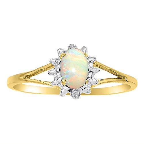 Ring mit Geburtsstein Oktober – Opal in 14 Karat Gelbgold oder 14 Karat Weißgold