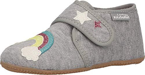 Living Kitzbühel Jungen Mädchen Babyklettschuh Einhorn & Regenbogen Hausschuhe, hellgrau, 26 EU