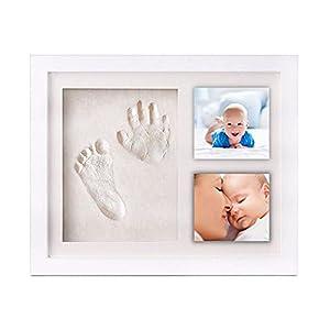 HuBorns. Kit Marco de Fotos con Huellas de Pies y Manos para Bebé - Regalo Original para Recién Nacidos - No Se Agrieta al Secarse (blanco)