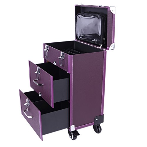 Extra Lager Luxury Leather Hairdressing Make up Beauty Trolley Case -Rolling Trolley Makeup Beauty Train Carry Case Cosmetics Art Cosmetic Box (Purple)