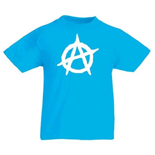 lepni.me Camiseta para Niño/Niña Símbolo anarquista, diseño político del anarquismo, Monograma de la anarquía - Movimiento anarco-Punk (7-8 Years Azul Claro Blanco)