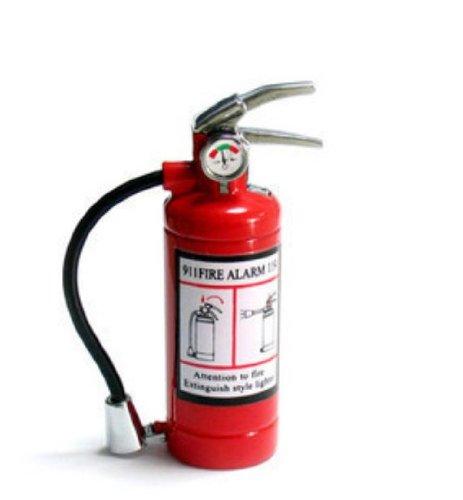 exo.nu Cute Mini Metal Fire Extinguisher Butane Refillable Cigarette Lighter with LED Flashlight