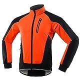 Chaqueta Ciclismo Hombre Invierno Polar Térmico, Impermeable Prueba de Viento Bicicleta Jackets Reflectante Alta Visibilidad Cortavientos,Naranja,S