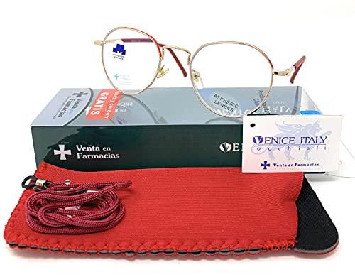 New Model Gafas de lectura con filtro bloqueo luz azul para gaming, ordenador, móvil. ULTIMA MODA Anti fatiga METAL POTER unisex Venice (Gold Red, +0,00 Sin Graduar)