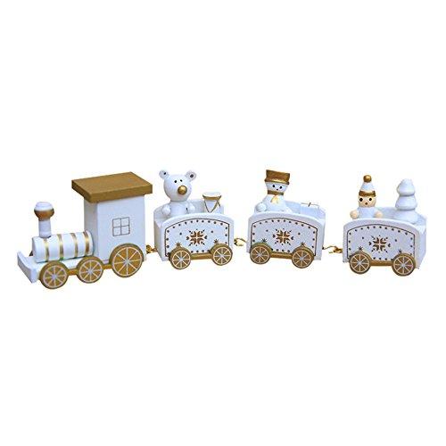 Hirolan Decor Spielzeugeisenbahn Holz Kleiner Zug Weihnachtszug Weihnachten Neujahr Deko Dekoration Ornament für Kinder Mädchen Junge Spielzeug Geschenke Tassenhalter der WeihnachtsZug (Weiß)