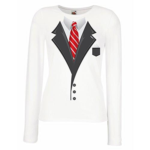 N4553M Mangas largas Camiseta de la Hembra Look Like a Boss! (Medium Blanco Multicolor)