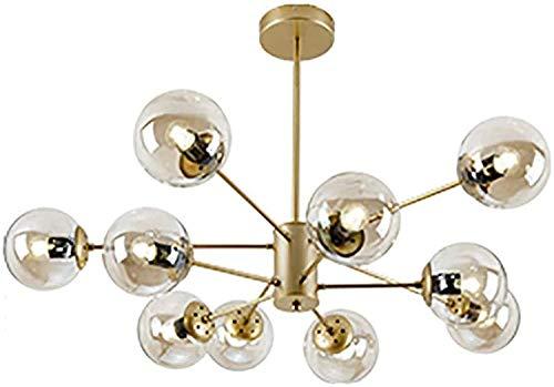 YQDSY Iluminación de Candelabros de Espuma Ajustable Moderna, Oro E27 de la Sala de Estar Luces de Araña de Techo con Vidrio Globo Lámpara Sombra para Comedor Dormitorio-Dorado 10 l