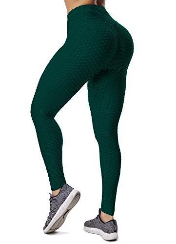 INSTINNCT Damen Slim Fit Hohe Taille Sportshort Lange Leggings mit Bauchkontrolle Dunkelgrün XL