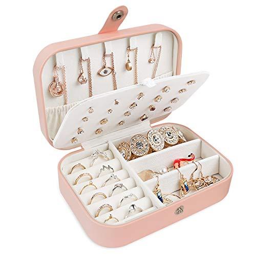Schmuck Organizer für Frauen, Schmuckkästchen Reise PU-Leder Schmuckaufbewahrung Klein Schmuckbox Schmuckkästchen für Ringe,Ohrringe,Halskette