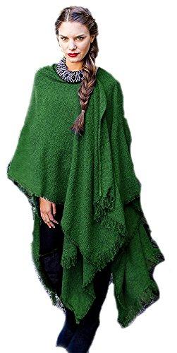 Kerry Woollen Mills Celtic Ruana Long Shawl Irish Wool Lambswool Kelly Emerald Green