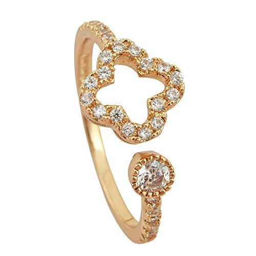【Petit Lulu shop】指輪 レディース クローバー フラワー 大人キュート シンプル 上品リング 18金RGP プチルルオリジナル指輪3点セッ...
