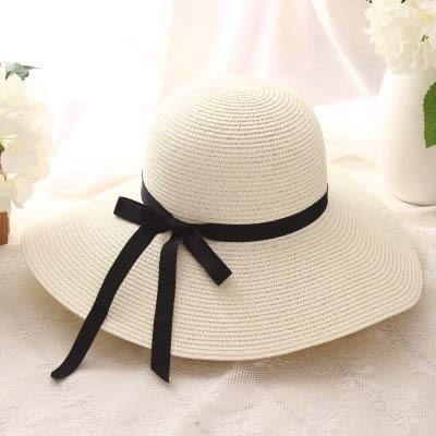Sombrero de Paja para niñas de ala Ancha Plegable Simple, Sombrero de Playa para Mujer, Sombrero de Verano con protección UV, Gorra de Viaje para Mujer-Milk white-55-58cm