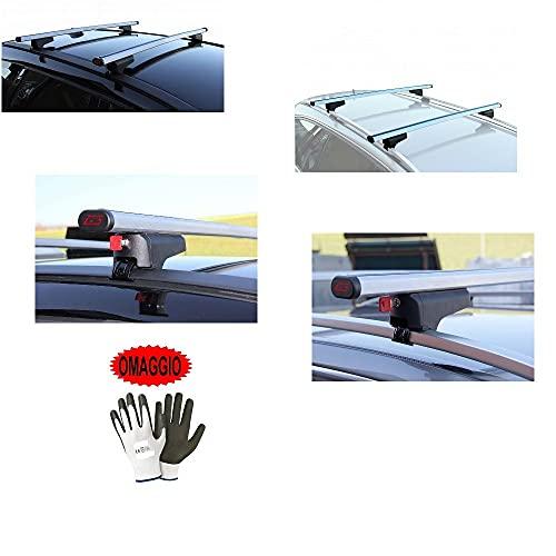 Compatible con Volvo V60 SW 5p (10-18) barras portaequipajes para techo de coche de 130 cm Par de barras de aluminio con railing tanto alto como bajo portabicicletas