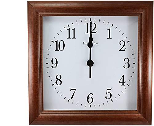 orologio da parete quadrato Orologio da Parete in Legno Massello Color Noce Elegante Vintage