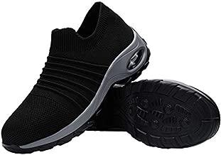 FENLERN Steel Toe Shoes for Women Lightweight Air Cushion Safety Sneakers Slip On Work Shoes Ladies Safety Toe Sock Sneaker Girls Walking Tennis Shoe (8.5, Black/Grey)