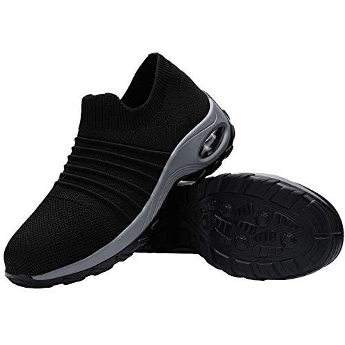 FENLERN Steel Toe Shoes for Women Lightweight Air Cushion Safety Sneakers Slip On Work Shoes Ladies Safety Toe Sock Sneaker Girls Walking Tennis Shoe (5.5, Black/Grey)