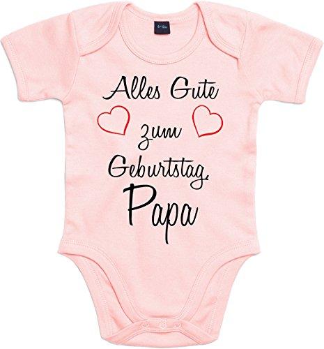 Mister Merchandise Baby Body Alles gute zum Geburtstag, Papa Strampler liebevoll bedruckt Glückwunsch Rosa, 0-3