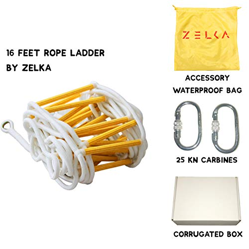 Fire Escape Rope Ladder 2 Story (16 Feet) Evacuation Ladder with Carabiners Easy to Deploy and Simple to Use- Breaking Strength 2400 LBS