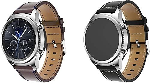 Gransho Correa de Reloj Compatible con Galaxy Watch Active/Active 2 / Active 3 / Watch 42mm, Correas Repuesto (diseño de Moda Original) (20mm, Coffee+Schwarz)