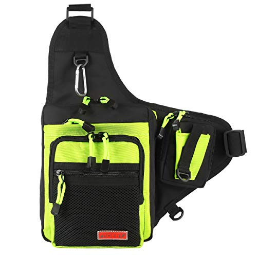 NOEBY Sports Shoulder Bag Portable Tackle Storage Hunter Fishing Hiking Hunting Camping Cycling Mountaineering Tackle Backpack Cross Body Messenger Sling Bags (Fluorescent Green)