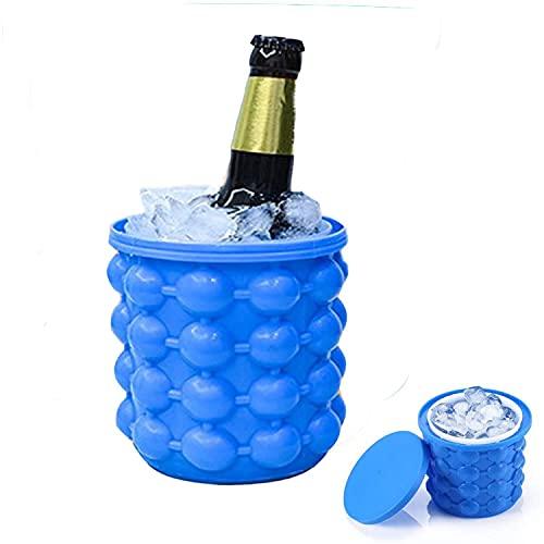 Secchiello per vino in plastica siliconica, stampo per cubetti di ghiaccio rotondo portatile, adatto per whisky congelato, cocktail, bevande, vassoio per il ghiaccio con stampo per cubetti di ghiaccio