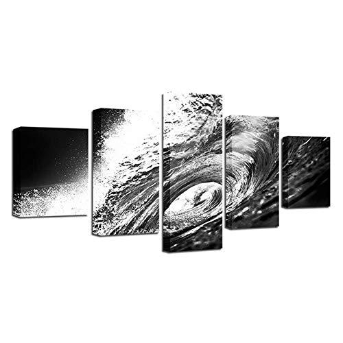 nr Canvas muurkunst foto's kamer wooncultuur HD prints poster zwart en wit zee golven strand zeeland schilderij -40x60 40x80 40x100 cm geen lijst