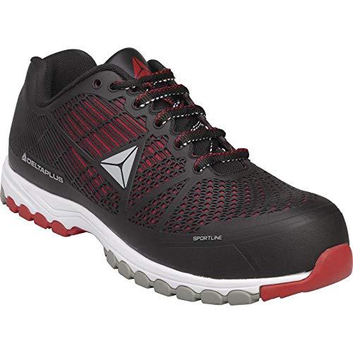 Delta Plus DSPORSPNR42 S1P HRO SRC - Zapatilla deportiva (poliuretano/malla), 43, rojo/negro, 10