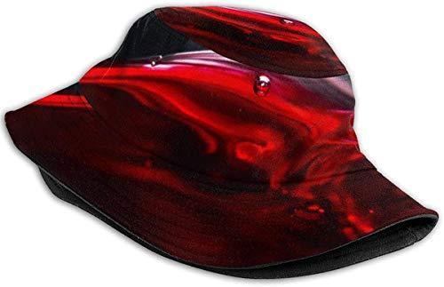 DUTRIX Atmungsaktive Eimerhüte mit flachem Oberteil Unisex-Muscheln Seetangblasen Eimerhut Sommerfischerhut-Rotwein-Einheitsgröße