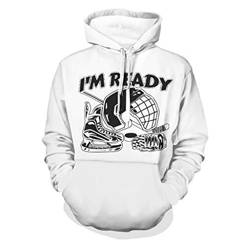 DAMKELLY Store Sudadera con capucha para hombre, diseño de casco de hockey con capucha, color blanco, talla 3XL