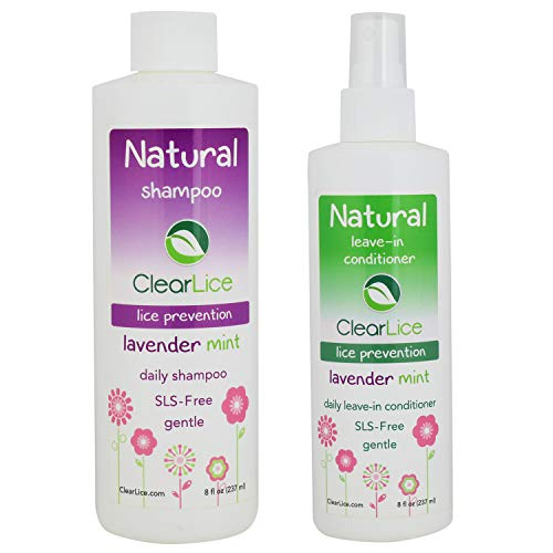 ClearLice Head Lice Help Kit - Shampoo and Conditioner Lice, Eggs and Nits Naturally - Skin Friendly, Safe for Daily Use - With Soft Scent of Lavender and Peppermint - 8 oz Bottles