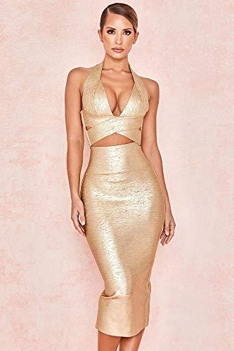 JJHR Kleider Damen Celebrity Party Kleid Low-Cut Hanging Neck Tops Splits Halbrock Verband Set Zweiteiliger Kleiderrock, Xs