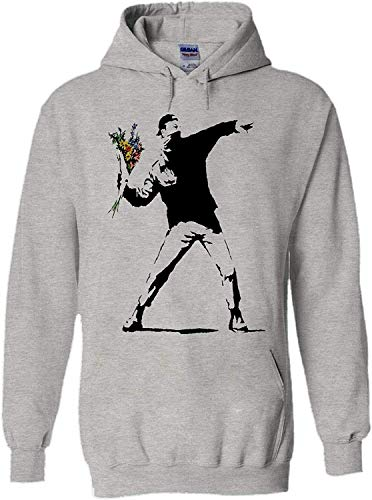 asegybbb Banksy Flower Thrower Peace Novelty Black Men Unisex Hooded Sweatshirt Hoodie