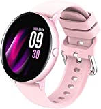 Orologio intelligente da uomo e donna, con schermo a colori da 1 09 pollici, schermo a colori HD IP67, impermeabile Bluetooth Fitness Tracker (colore: oro) (rosa)