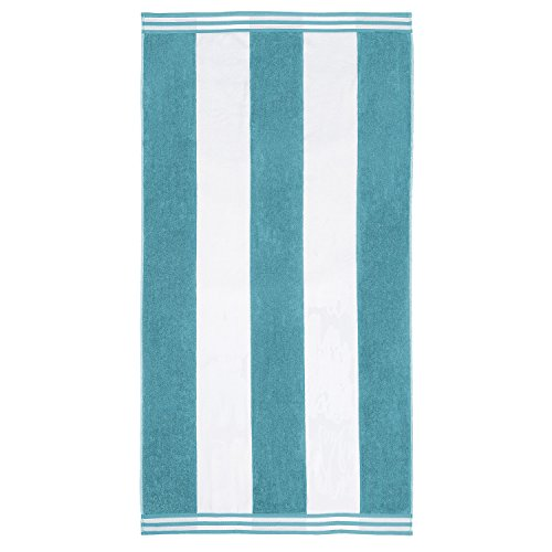 SUPERIOR 100% Cotton Luxury Beach Towels - Oversized Beach Towel, 450 GSM Swim Towel, Turquoise Cabana Stripes (34' x 64')