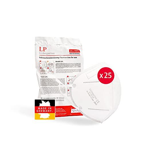 ProPulsan Lindenpartner FFP2 Maske Weiß 25 Stück, Made in Germany, CE Zertifizierte, Hygienische Atemschutzmaske