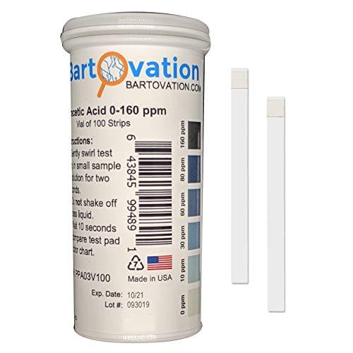 Bartovation peressigsäure-teststreifen, 0-160 ppm [double vergleichbare angebote, phiole mit 100 strips]