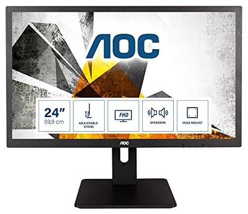 AOC E2475PWJ - 24 Inch FHD Monitor, 60Hz, TN, 2ms, Speakers, Ergonomic,...