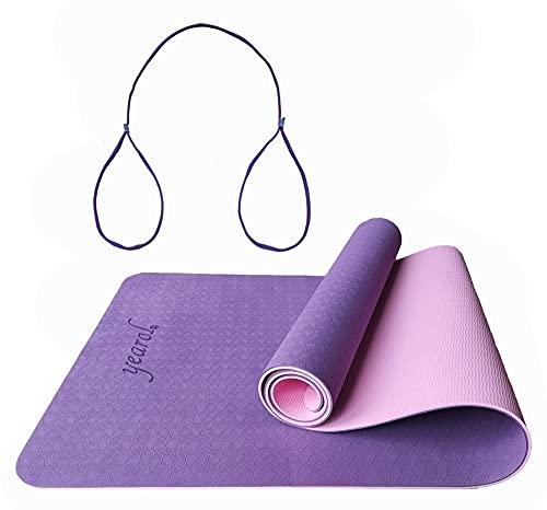 YEAROL  E2 Esterilla antideslizante para yoga, gimnasia, pilates, deporte, fitness, meditación. Doble capa. Con correa. Material: TPE 183 x 61 cm.