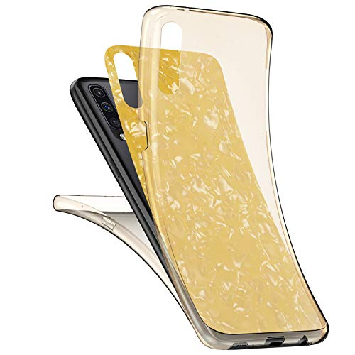 JAWSEU Kompatibel mit Samsung Galaxy A50 Hülle 360 Grad Handyhülle, Muschel Muster Ultradünn Silikon Crystal Soft TPU Case Full Schutz Cover Vorne und Hinten Schutzhülle für Galaxy A50,Gelb
