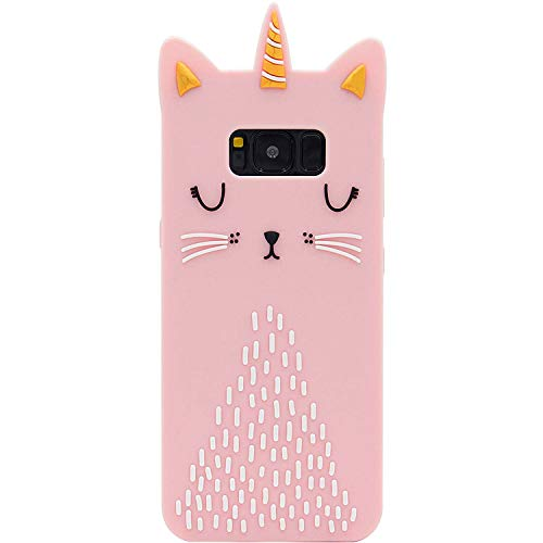 Funermei Cat Unicorn Case for Samsung Galaxy S6,Silicone 3D Cartoon Design Animal Pink Cover,Kids Girls Teens Cool Chic Cute Cases,Kawaii Soft Gel Rubber Unique Character Funny Protector for SamsungS6