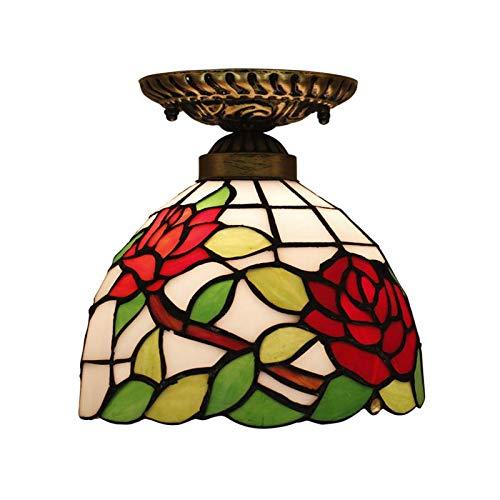 QCKDQ plafondlamp 8-polig, Tiffany Style Semi met gekleurde glazen rozet, voor woonkamer met achtergrondverlichting E27