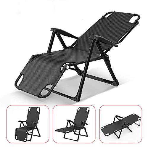 KEOA Klappbar Sonnenliege Garten Lounge-Sessel Gartenstuhl Freien Terrasse Camping Stühle Tragbar Relaxsessel Unterstützt 200 kg- Schwarz