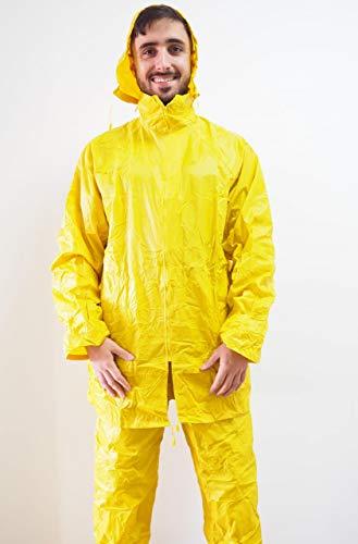Green Bay Chubasquero Completo conformado por pantalón y Chaqueta Fabricados en poliéster y PVC · Ropa Impermeable en Color Amarillo, Ideal para Trabajos bajo la Lluvia.