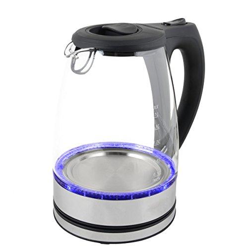 Wasserkocher Edelstahl Glas mit LED Beleuchtung 1,7 Liter