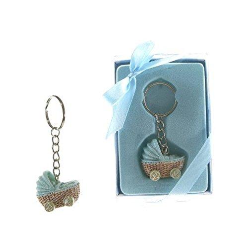 Lunaura Baby Keepsake - Set of 12'Boy' Baby Stroller Key Chain Favors - Blue