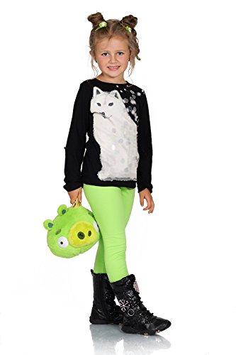 FUTURO FASHION® - Leggings para niñas - Cálidos y gruesos - Algodón - Verde lima - Talla 2 años