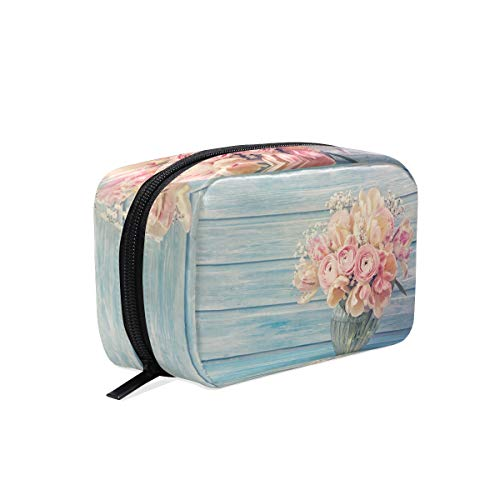 Trousse de maquillage sac à main en bois vase à fleurs pochette cosmétique