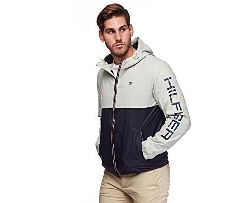 Tommy Hilfiger- Colorblocked Logo Rain Jacket Ice/Navy Size Large