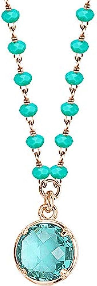 Boccadamo gioielli inkanto offerta trendy,collana per donna, in bronzo placcato oro rosa con cristalli verdi Ik/Gr28